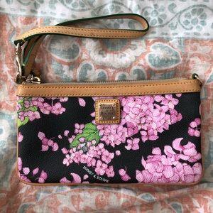 black and pink floral wristlet